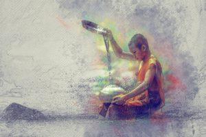 imagen de un budista derramando agua en una vasija